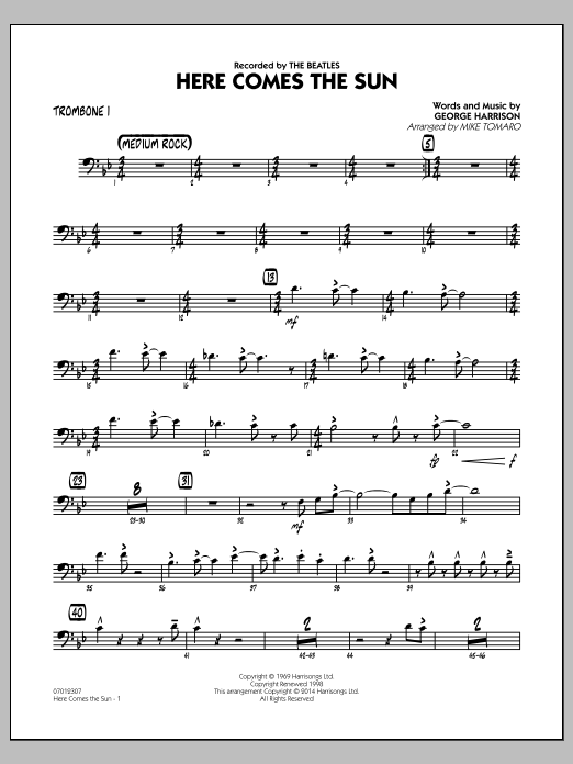 Here Comes the Sun - Trombone 1 (Jazz Ensemble)
