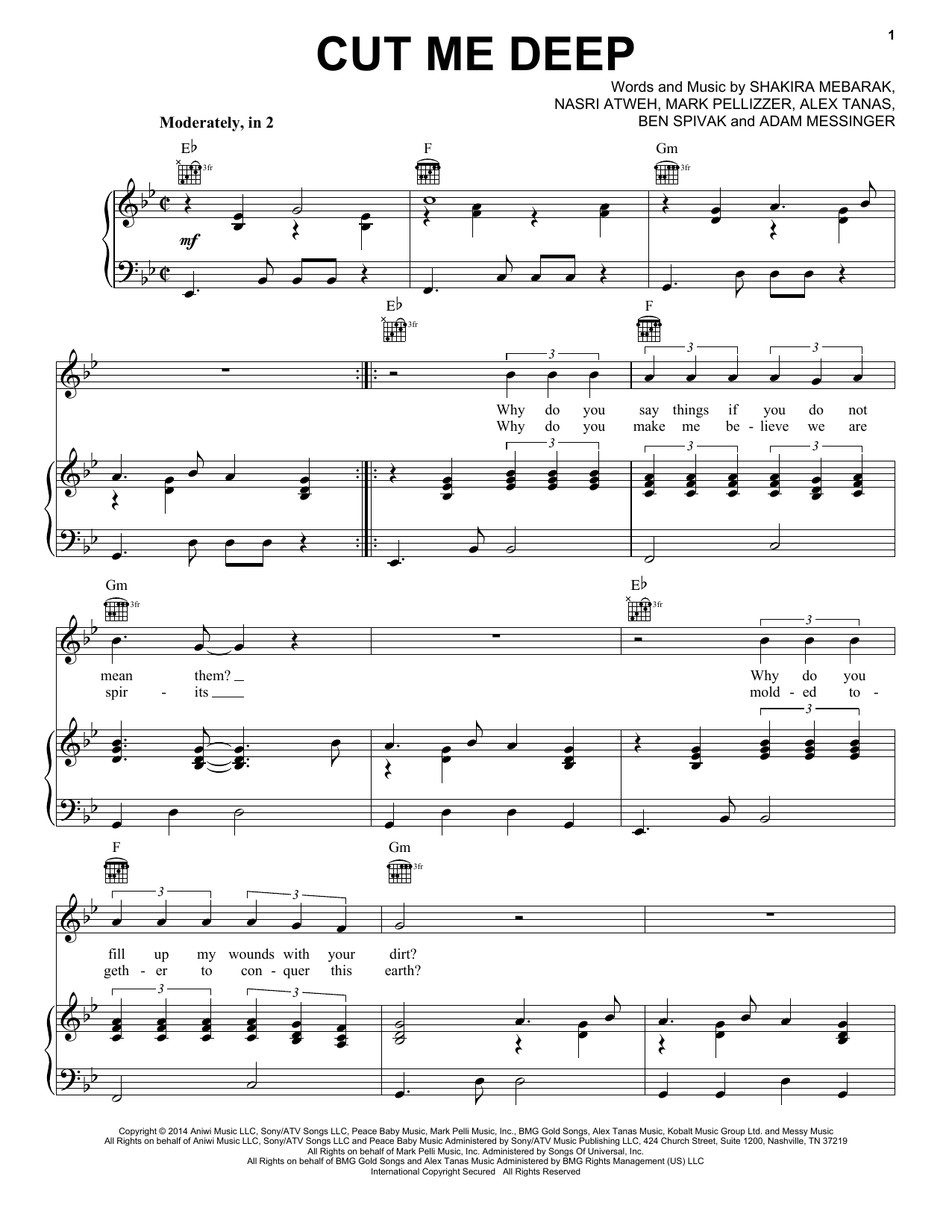 Cut Me Deep Sheet Music
