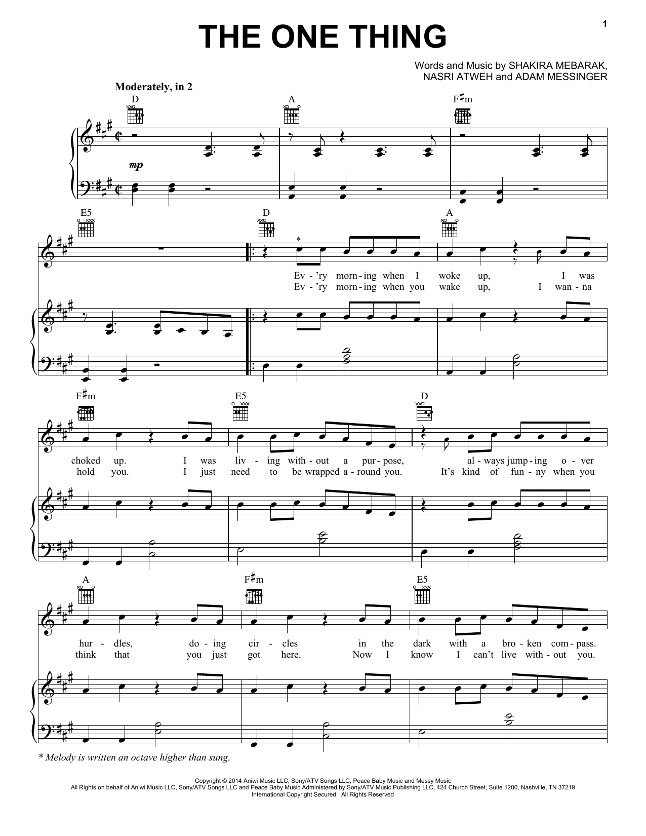 The One Thing Sheet Music