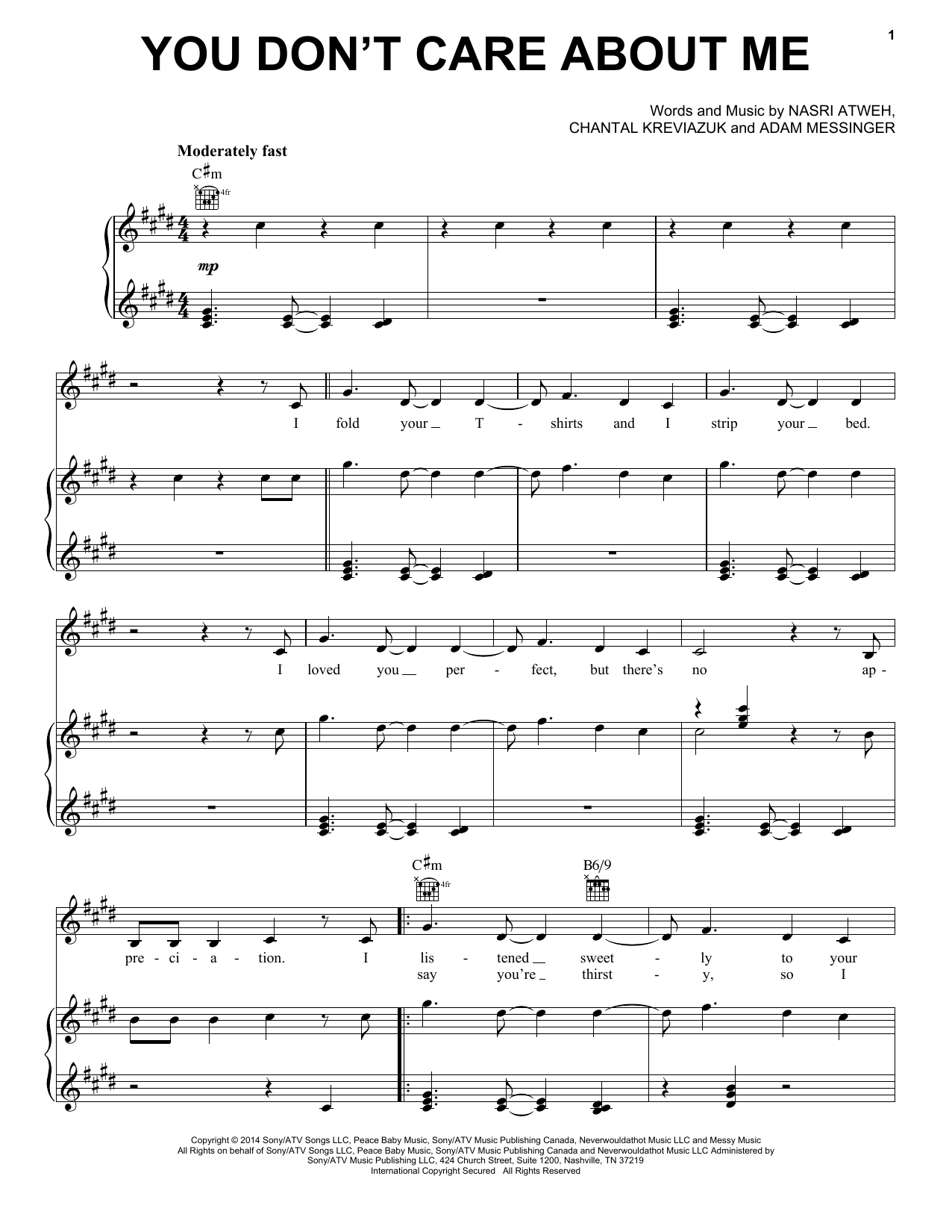 You Don't Care About Me Sheet Music