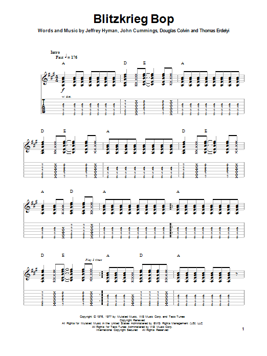Tablature guitare Blitzkrieg Bop de Ramones - Playback Guitare