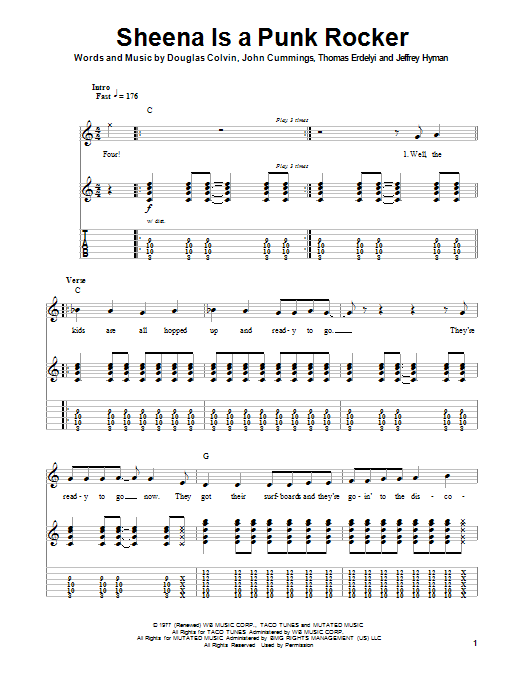 Sheena Is A Punk Rocker Sheet Music