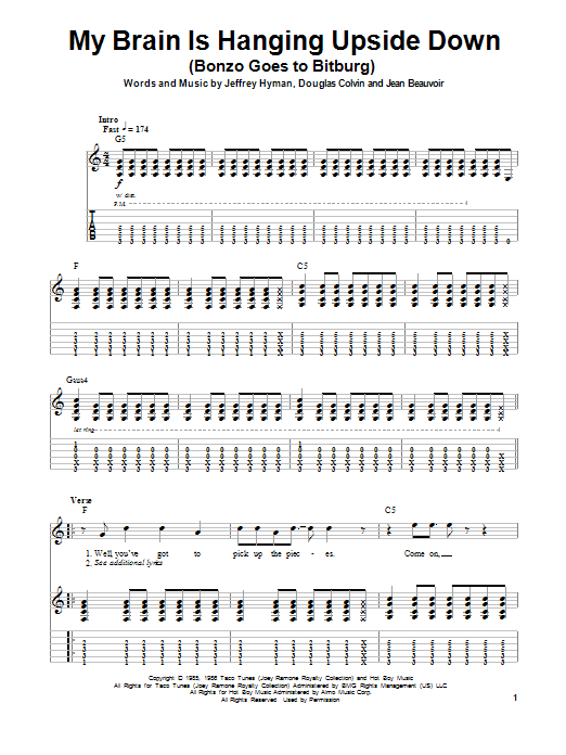 Tablature guitare My Brain Is Hanging Upside Down (Bonzo Goes To Bitburg) de Ramones - Playback Guitare