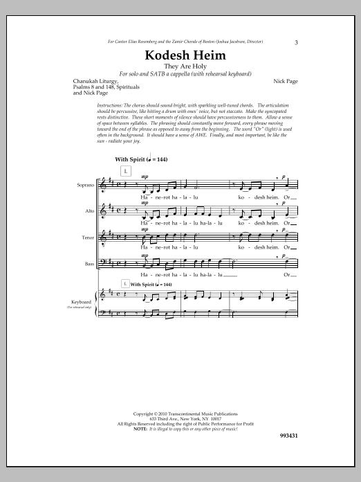 Kodesh Heim Sheet Music