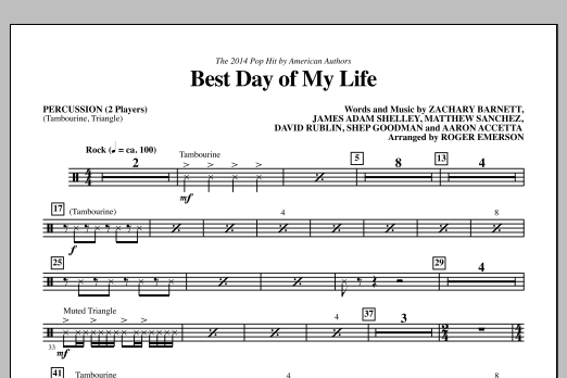 Best Day of My Life - Percussion Sheet Music