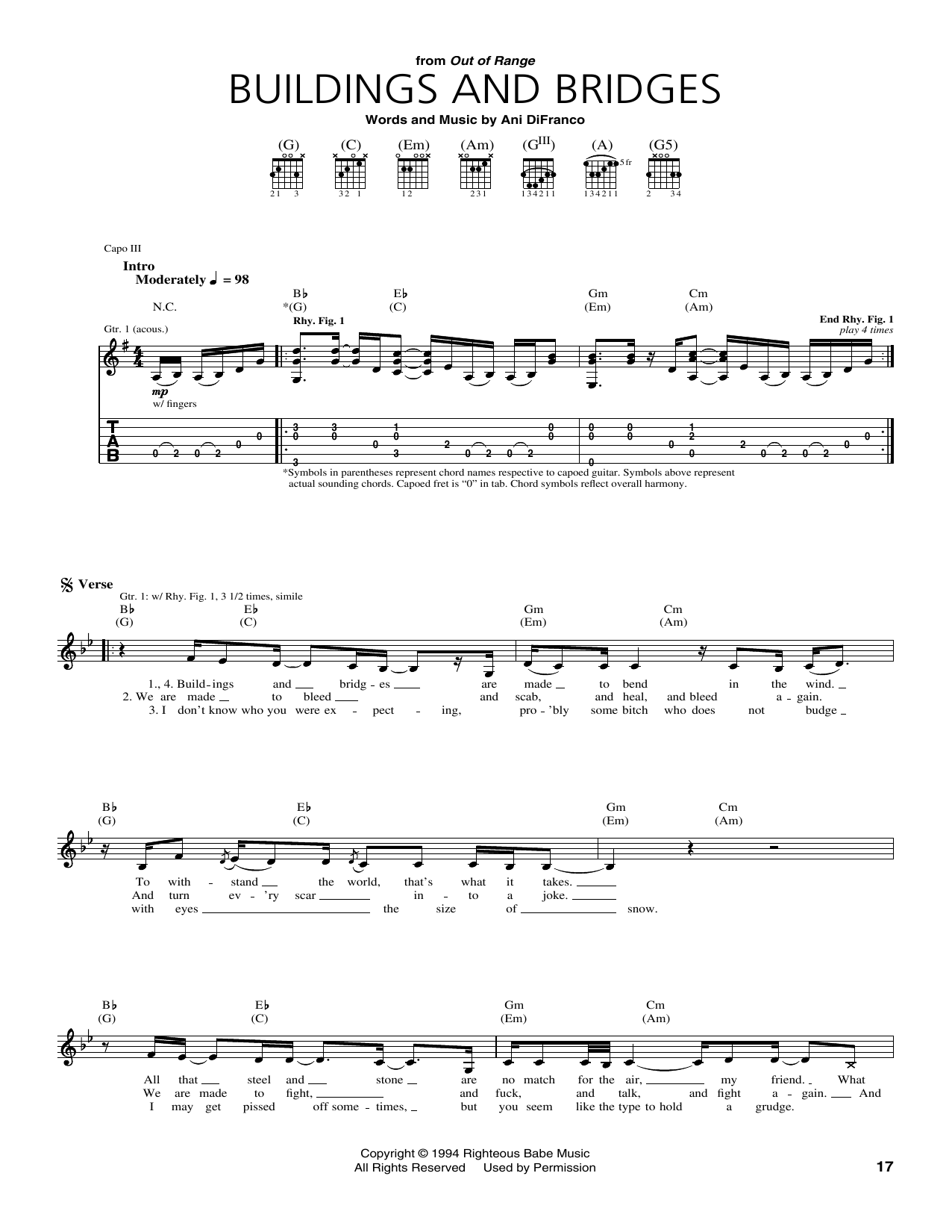 Buildings and Bridges Sheet Music