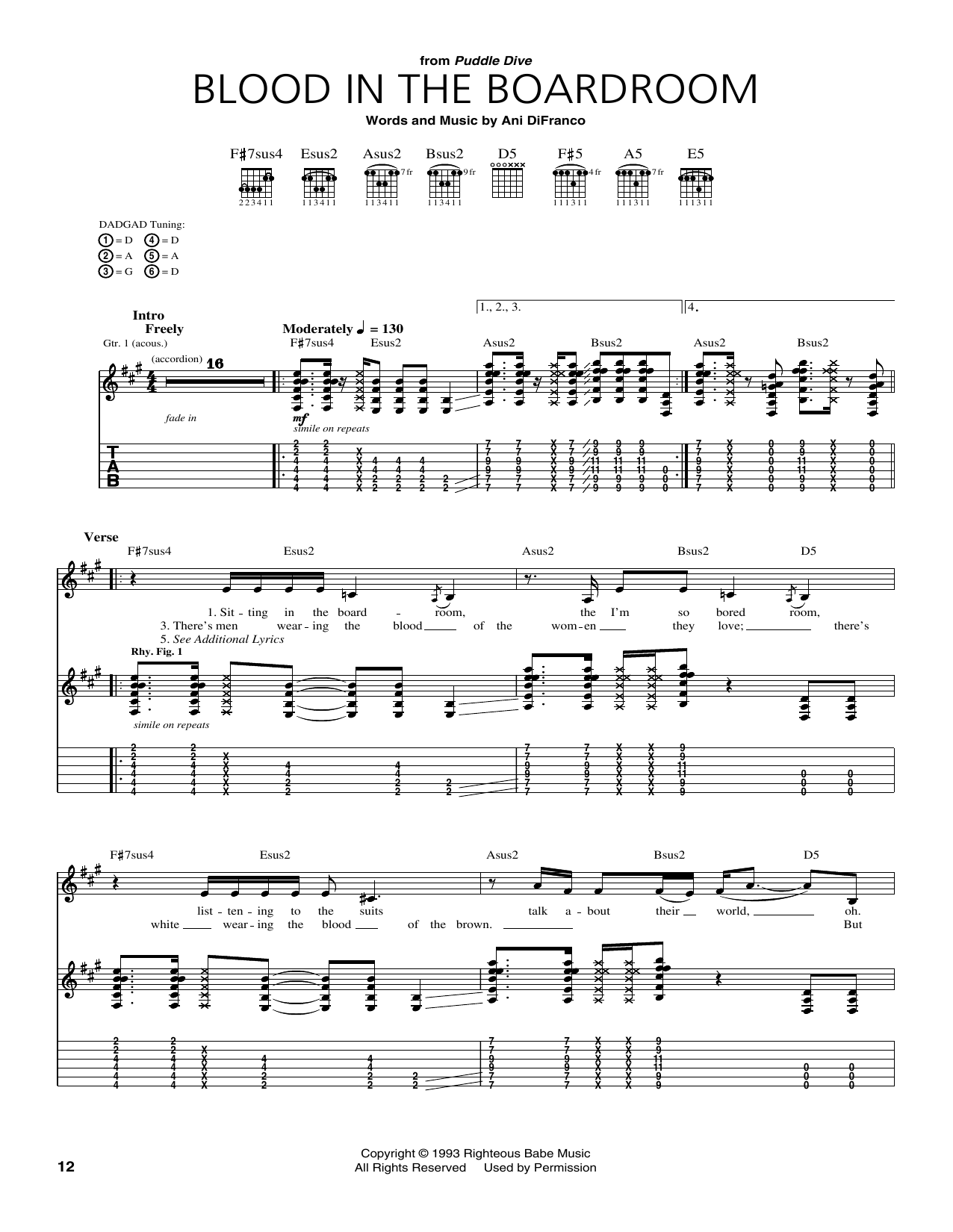 Blood In The Boardroom Sheet Music