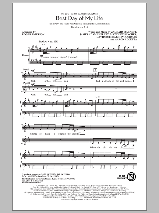 Best Day Of My Life Sheet Music
