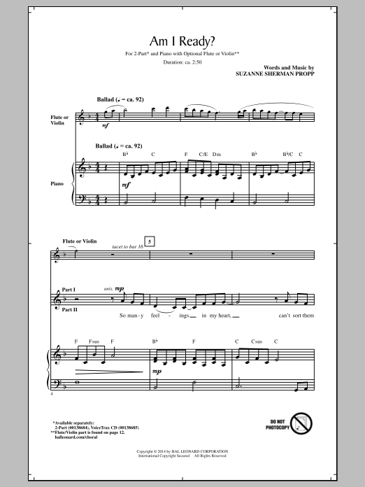 Am I Ready? Sheet Music