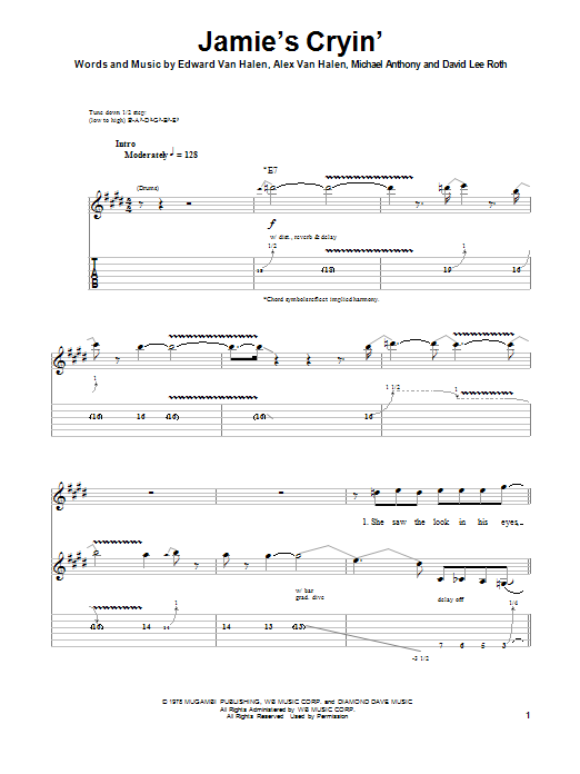 Jamie's Cryin' Sheet Music