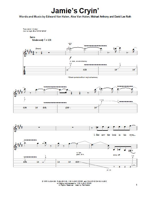 Tablature guitare Jamie's Cryin' de Van Halen - Playback Guitare