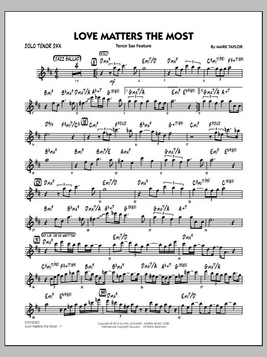 Love Matters the Most - Solo Tenor Sax (Jazz Ensemble)