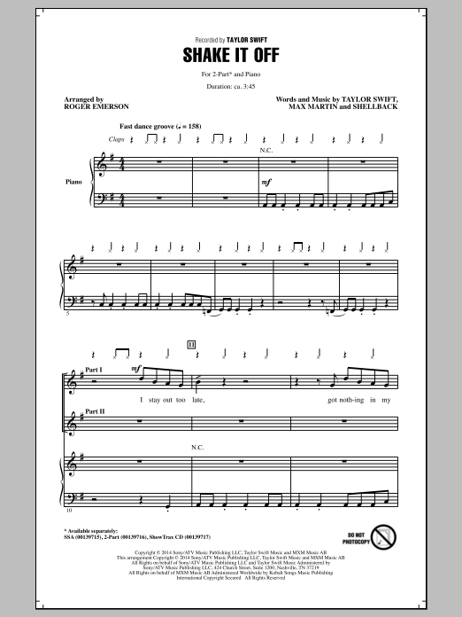 Shake It Off (arr. Roger Emerson) Sheet Music