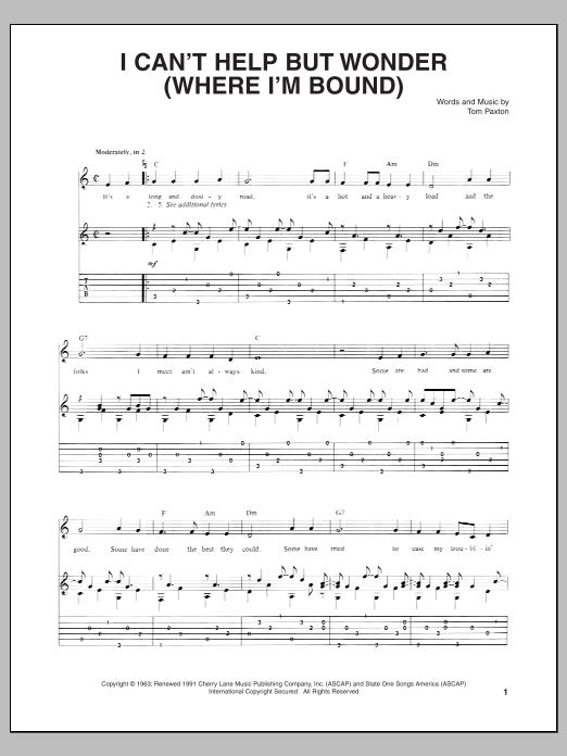 I Can't Help But Wonder (Where I'm Bound) Sheet Music