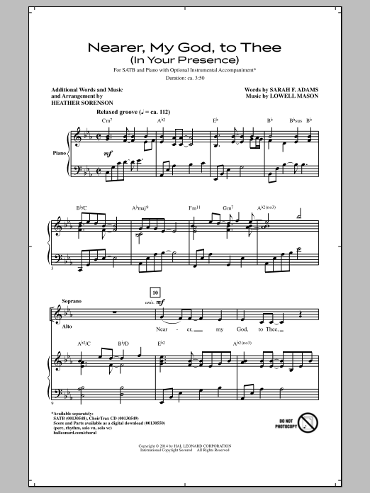 Nearer, My God, To Thee (In His Presence) (arr. Heather Sorenson) Sheet Music