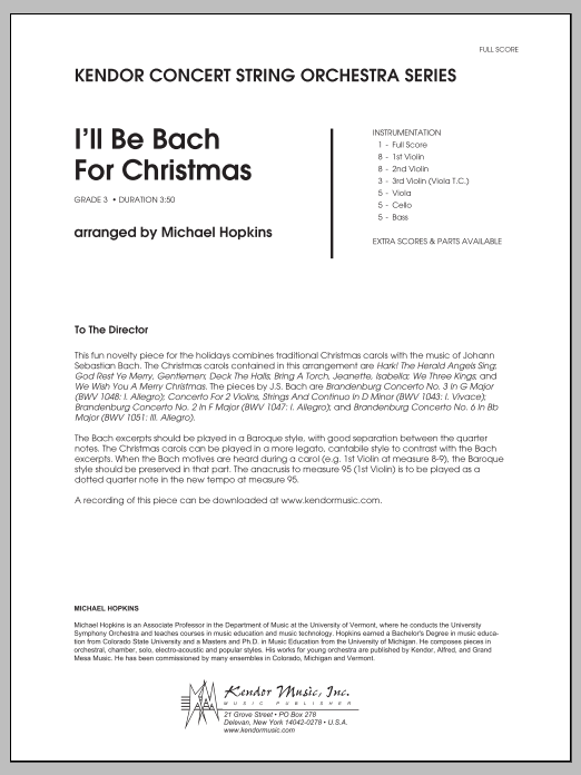 I'll Be Bach For Christmas (COMPLETE) sheet music for orchestra by Michael Hopkins. Score Image Preview.