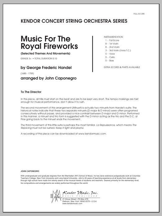 Music For The Royal Fireworks (Selected Themes And Movements) (COMPLETE) sheet music for orchestra by John Caponegro and George Frideric Handel. Score Image Preview.