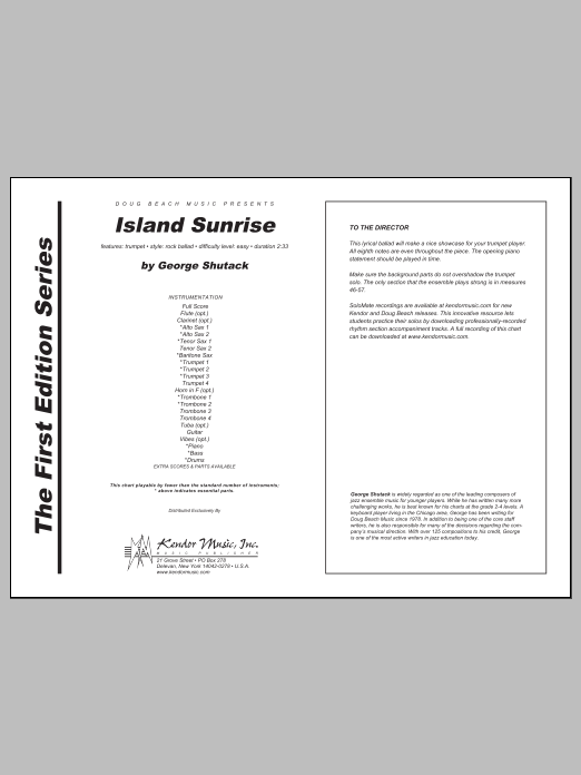 Island Sunrise (COMPLETE) sheet music for jazz band by George Shutack. Score Image Preview.