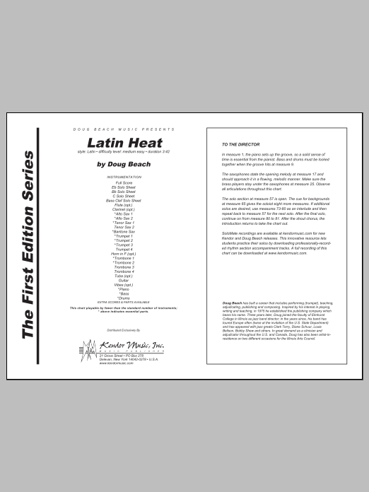 Latin Heat (COMPLETE) sheet music for jazz band by Doug Beach. Score Image Preview.