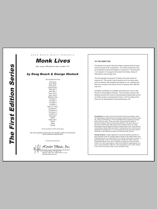 Monk Lives (COMPLETE) sheet music for jazz band by Doug Beach and George Shutack. Score Image Preview.