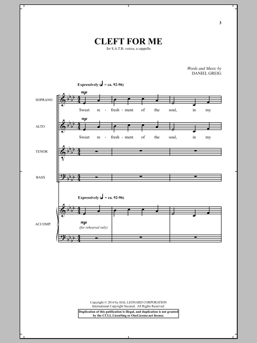 Partition chorale Cleft For Me de  - SATB