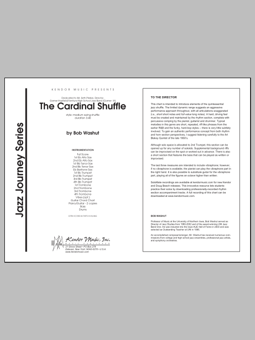 The Cardinal Shuffle (COMPLETE) sheet music for jazz band by Bob Washut. Score Image Preview.