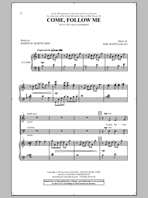 Partition chorale Come, Follow Me de Joseph M. Martin - SATB