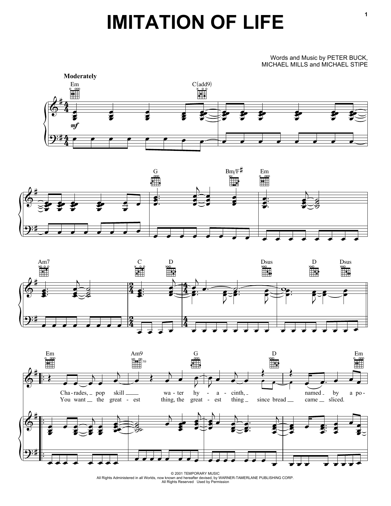 Imitation Of Life Sheet Music