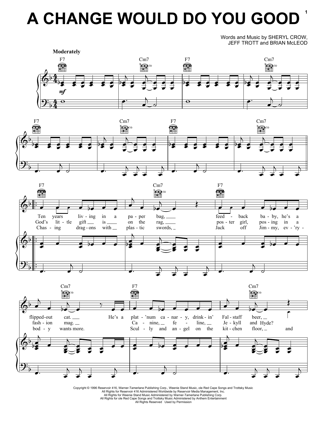 A Change Would Do You Good (Piano, Vocal & Guitar (Right-Hand Melody))