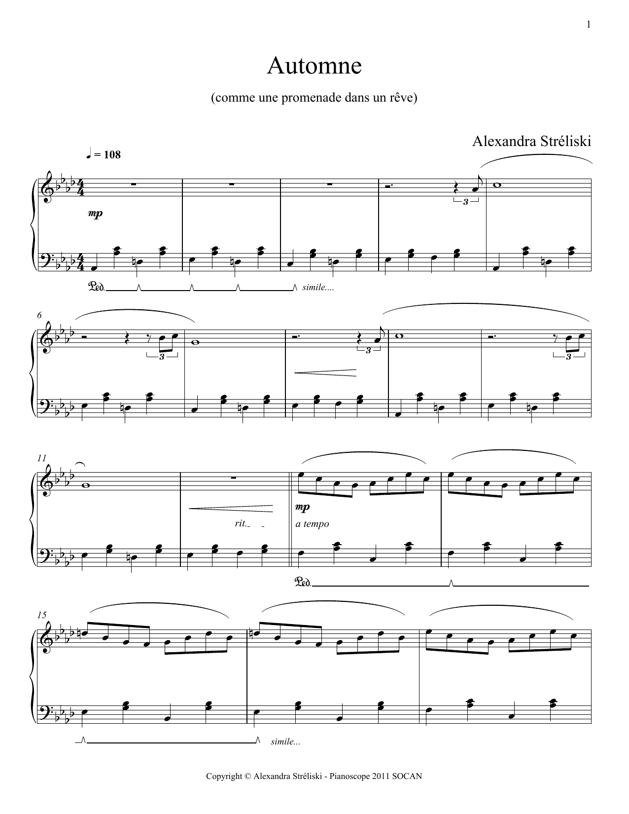 Automne Sheet Music