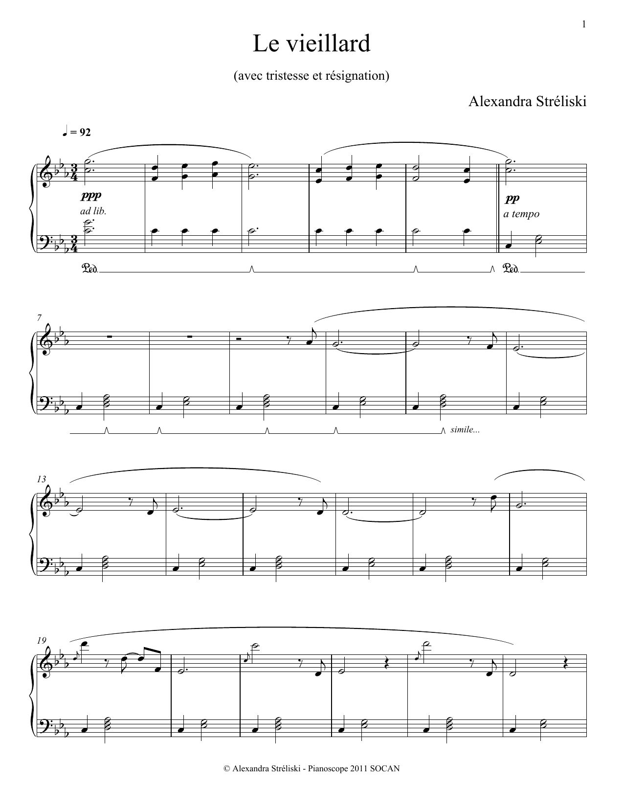 Le vieillard Sheet Music