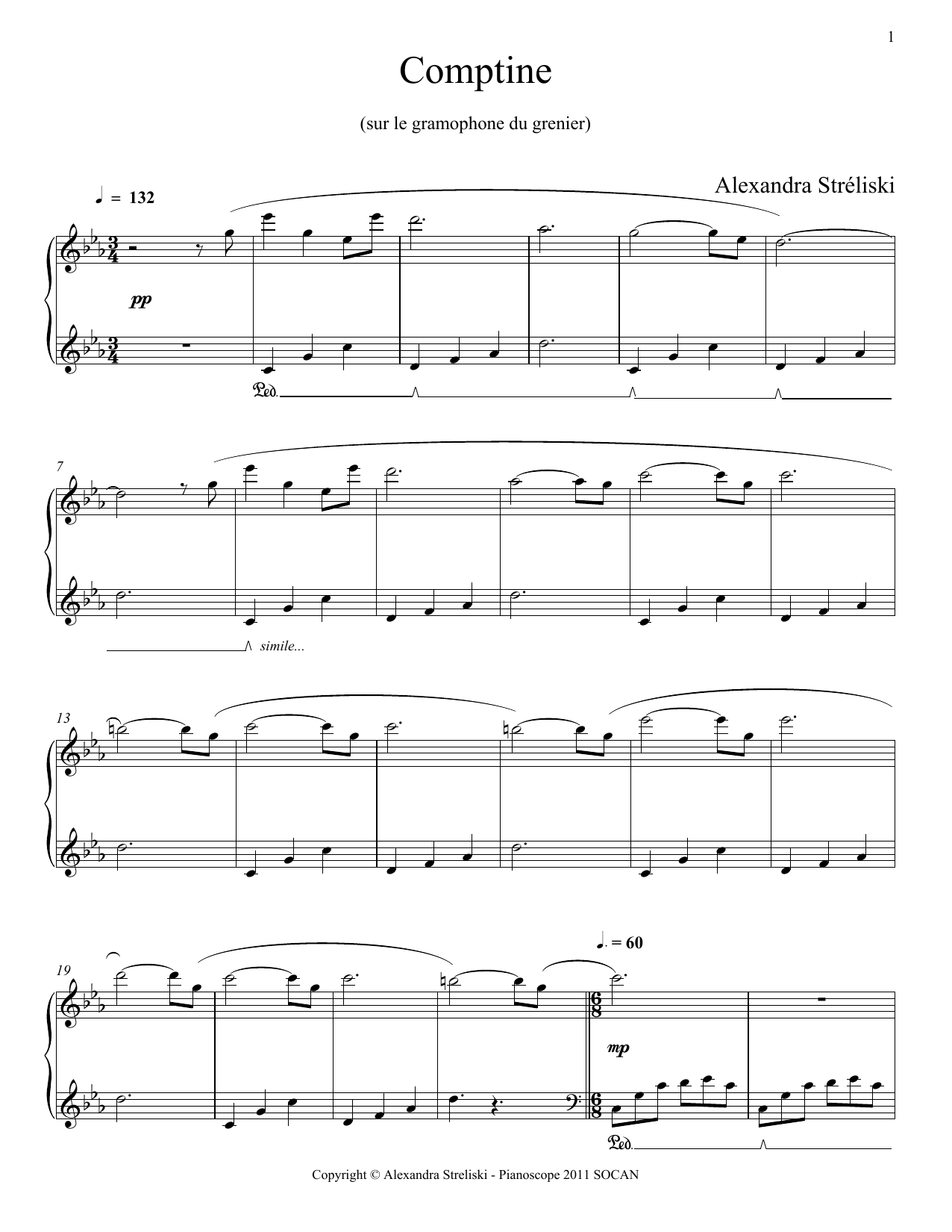 Comptine Sheet Music
