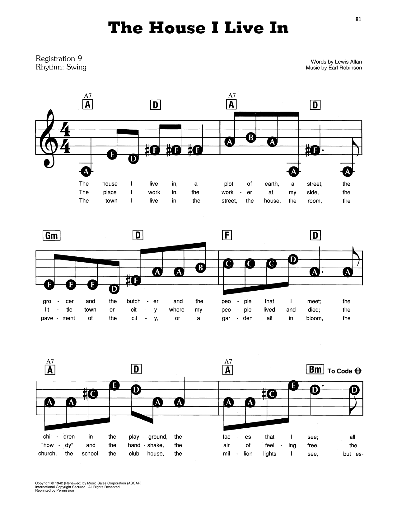 The House I Live In Sheet Music