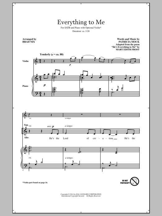 Everything To Me (arr. Brad Nix) Sheet Music