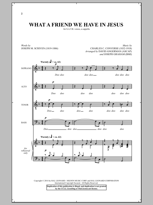 Partition chorale What A Friend We Have In Jesus (arr. David Angerman & Joseph Graham) de Charles C. Converse - SATB