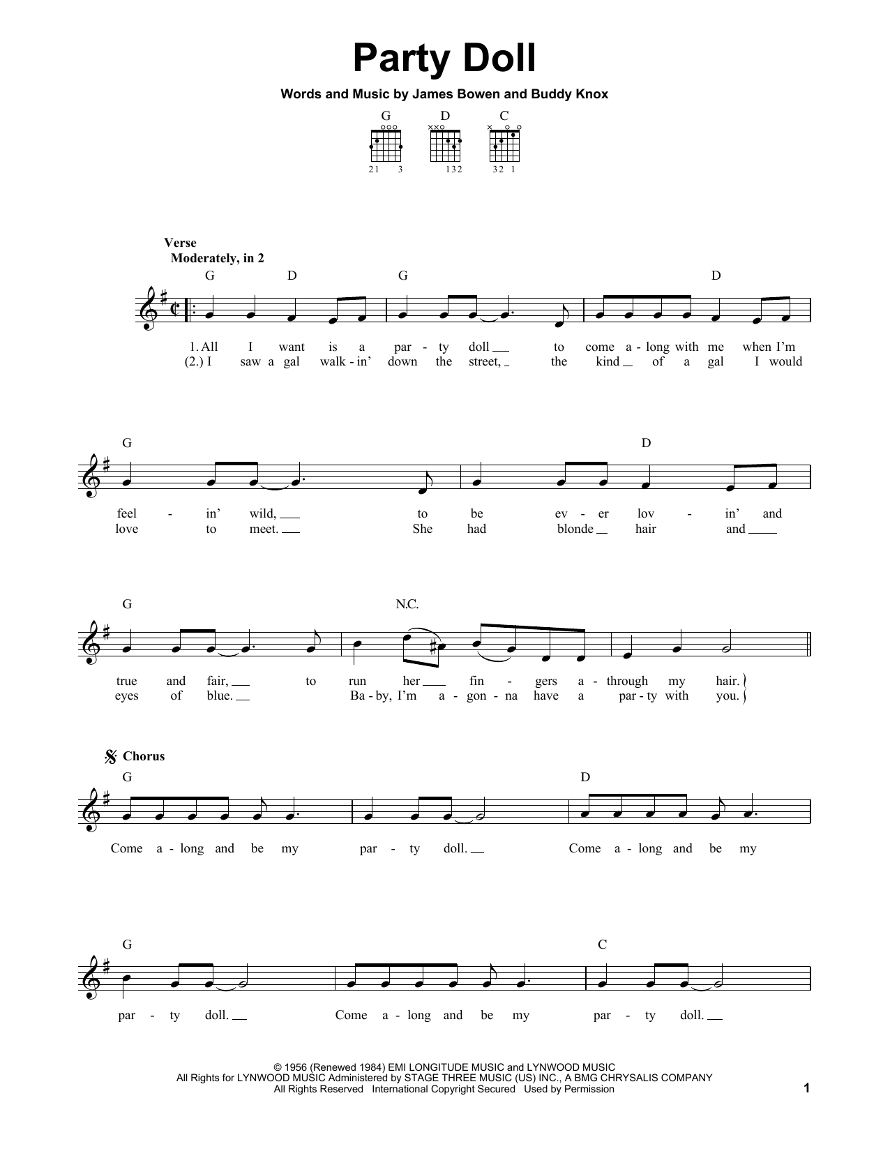 Party Doll Sheet Music