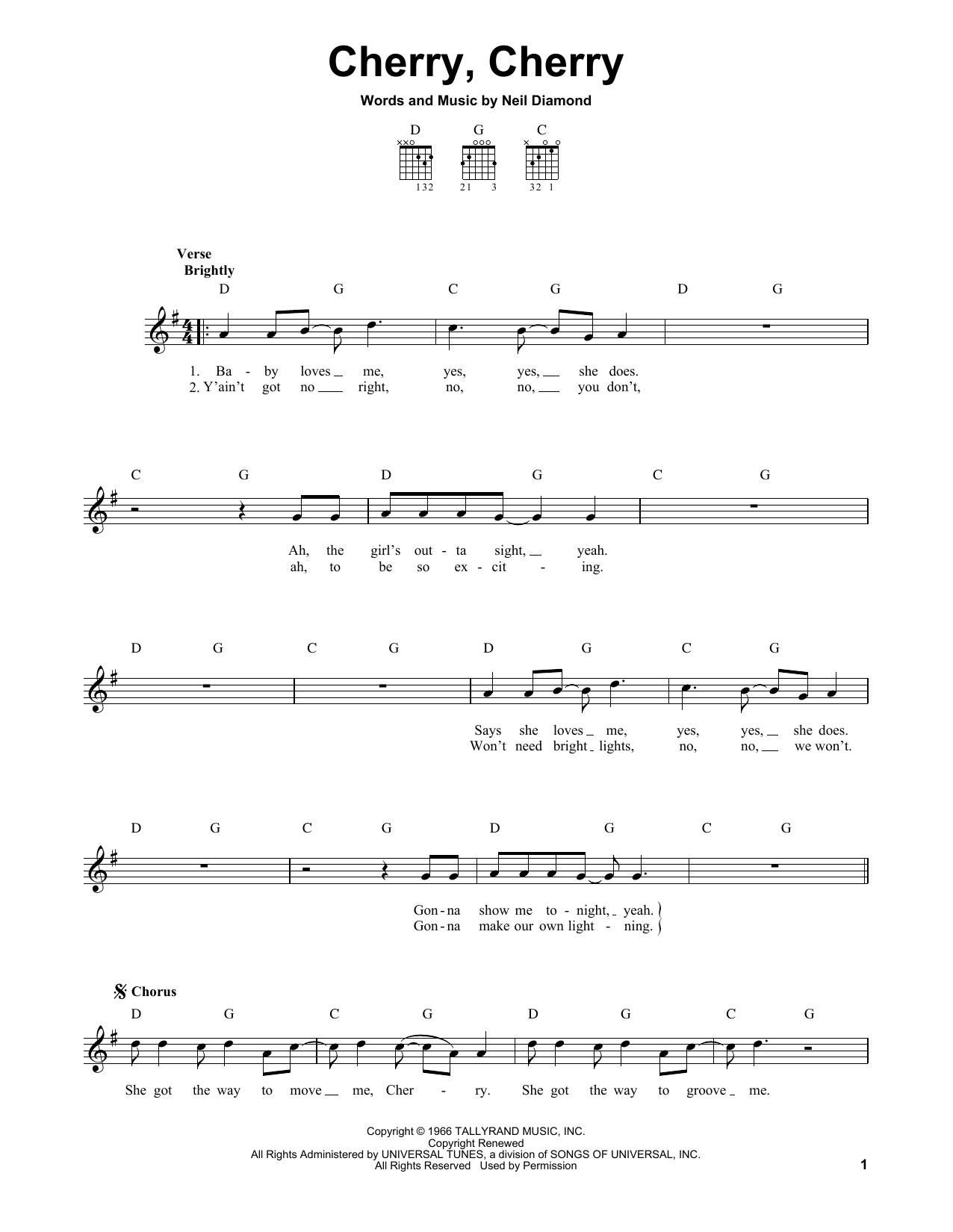 Tablature guitare Cherry, Cherry de Neil Diamond - Tablature guitare facile