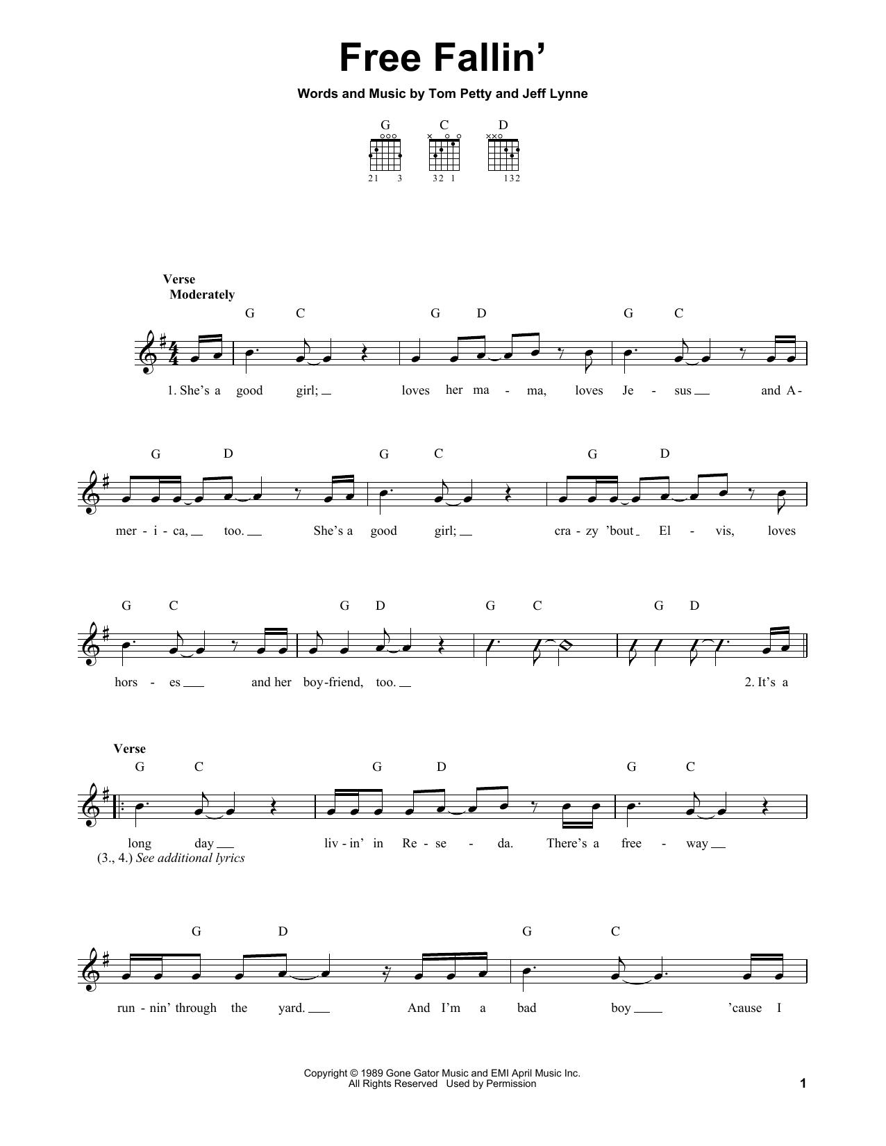 Tablature guitare Free Fallin' de Tom Petty - Tablature guitare facile