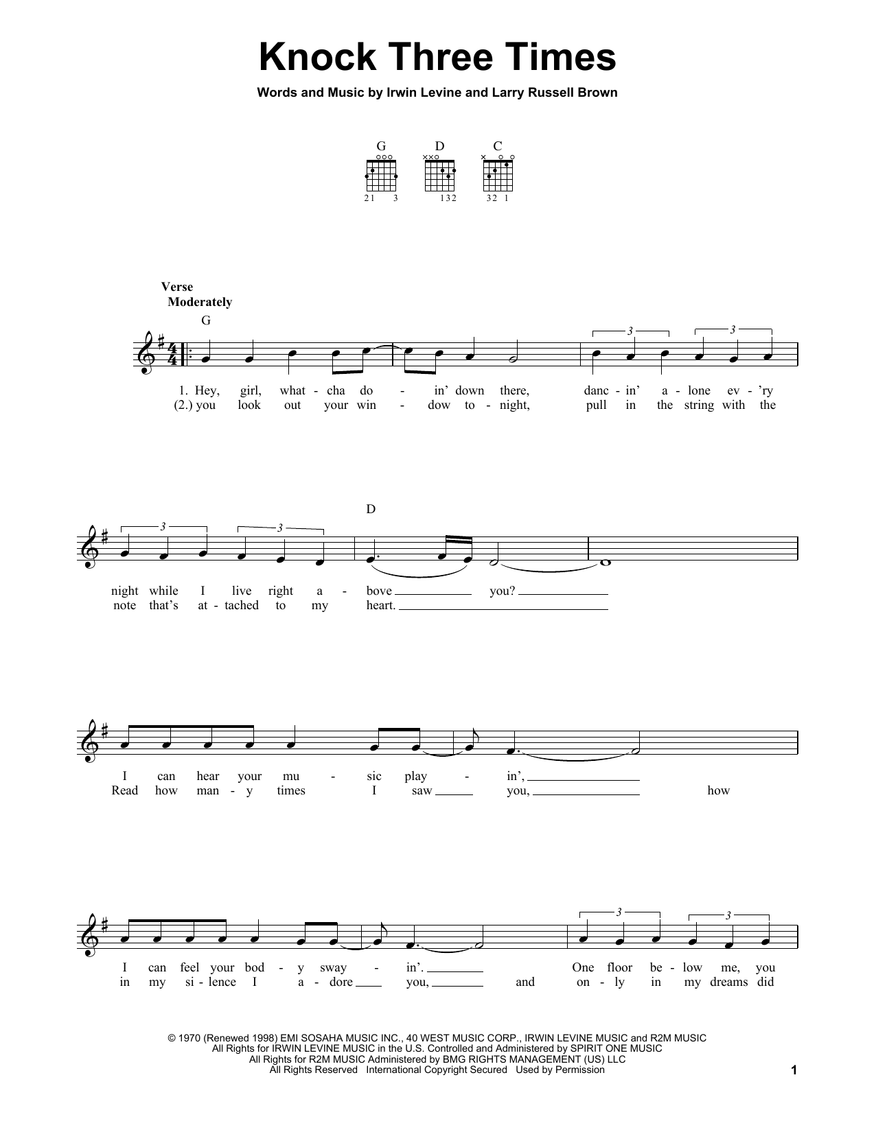 Tablature guitare Knock Three Times de Dawn - Tablature guitare facile