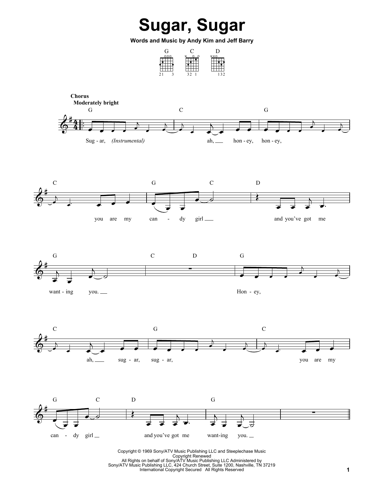 Tablature guitare Sugar, Sugar de Wilson Pickett - Tablature guitare facile