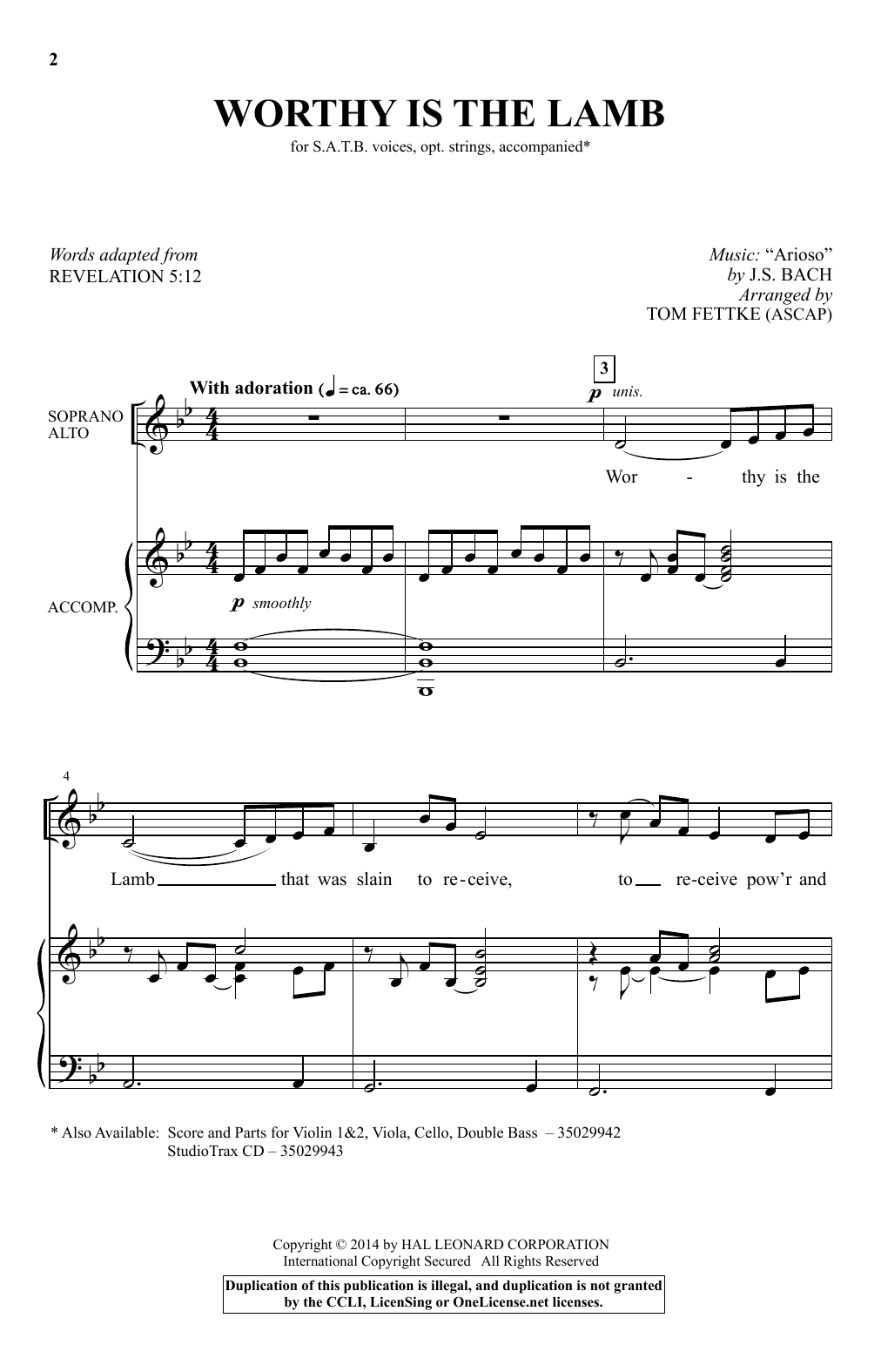 Partition chorale Worthy Is The Lamb de Tom Fettke - SATB