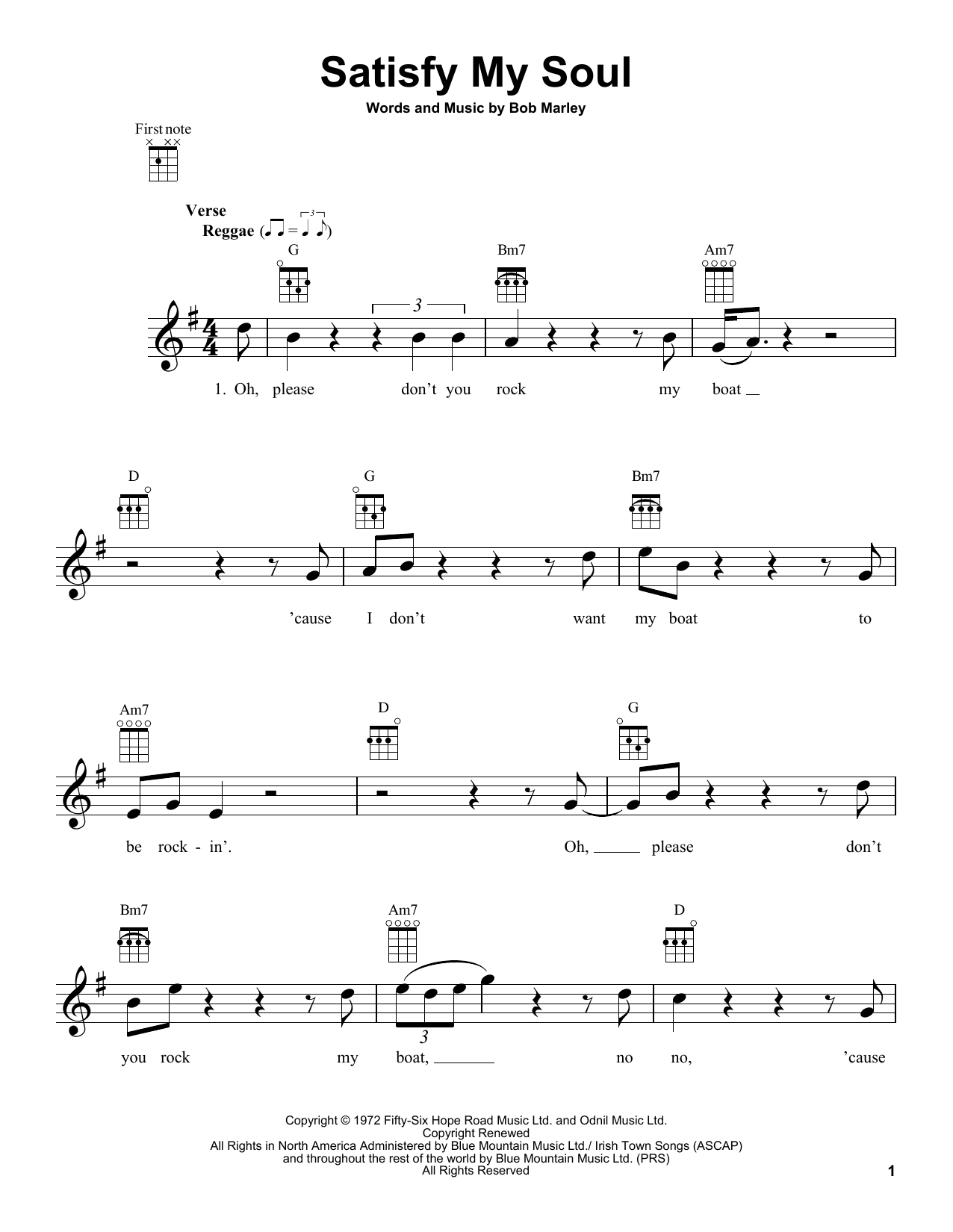 Tablature guitare Satisfy My Soul de Bob Marley - Ukulele