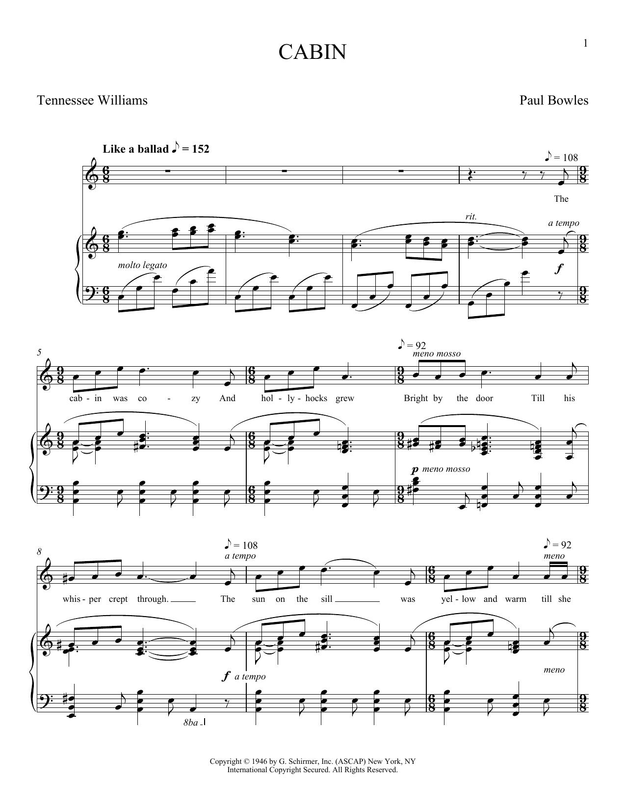 Cabin (Piano & Vocal)