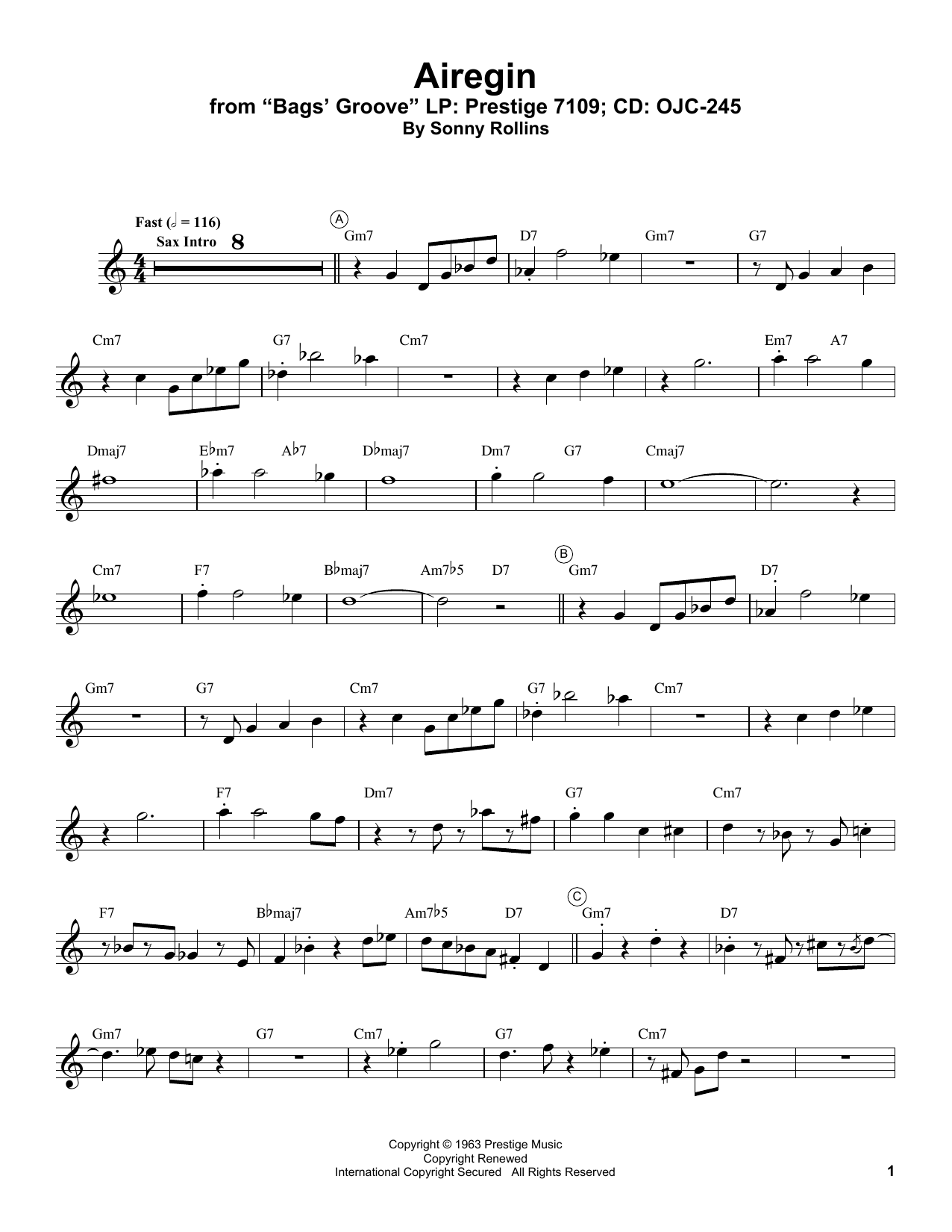Airegin Sheet Music