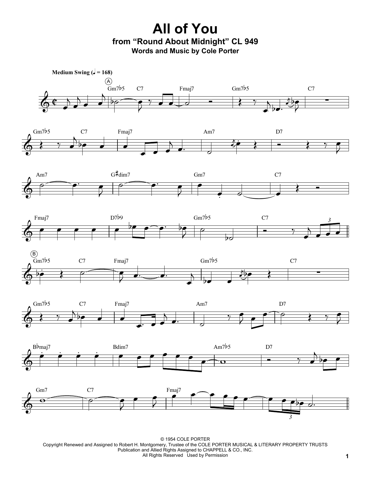 All Of You (Trumpet Transcription)