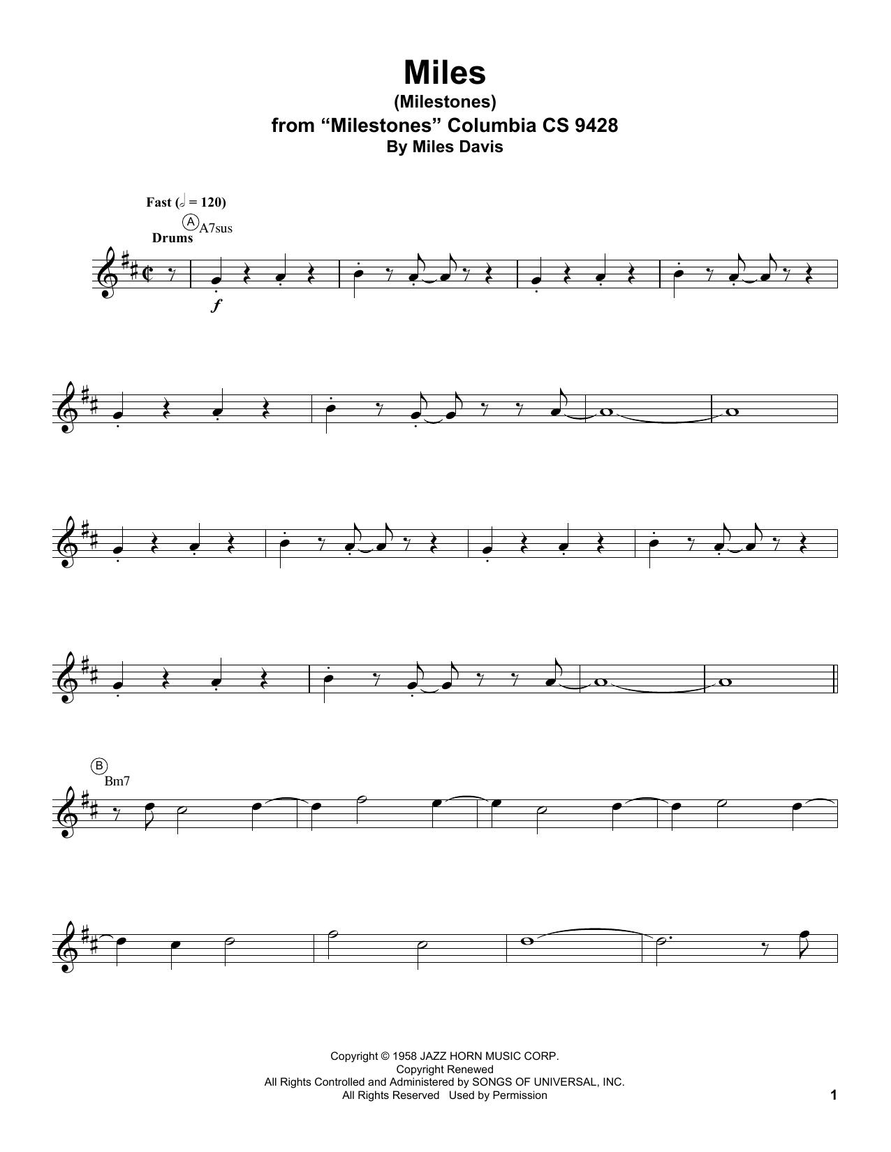 Miles Sheet Music