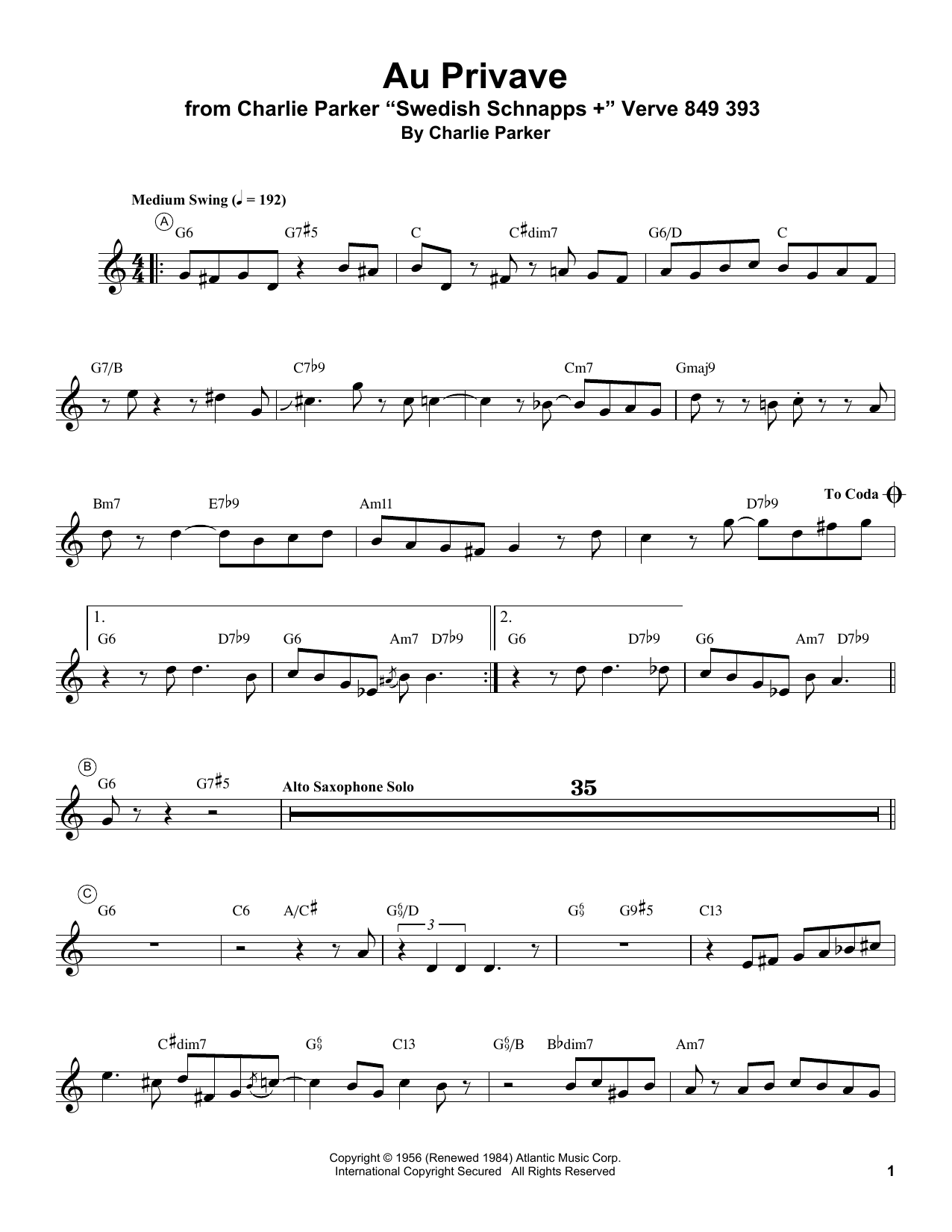Au Privave Sheet Music