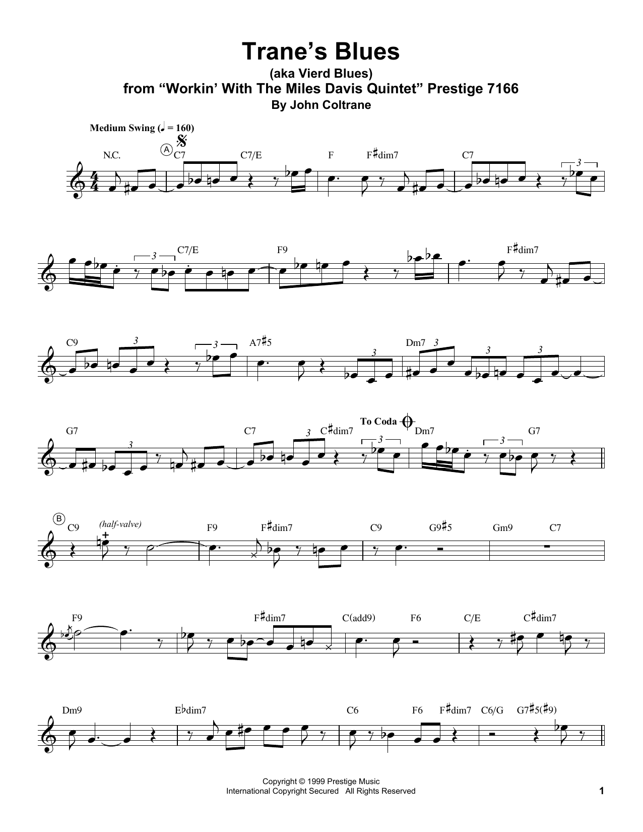 Trane's Blues (Trumpet Transcription) - Print Sheet Music Now