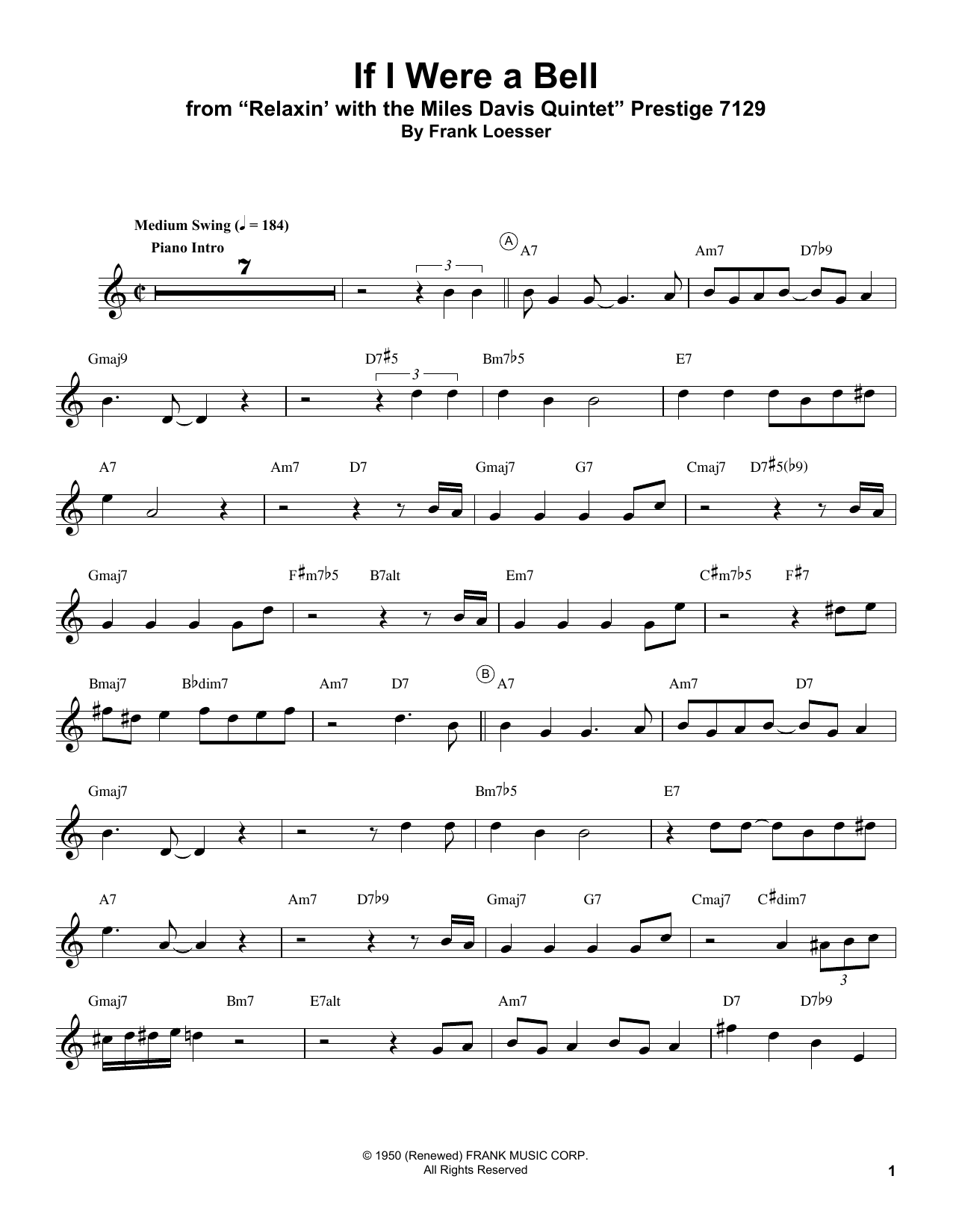 If I Were A Bell Sheet Music