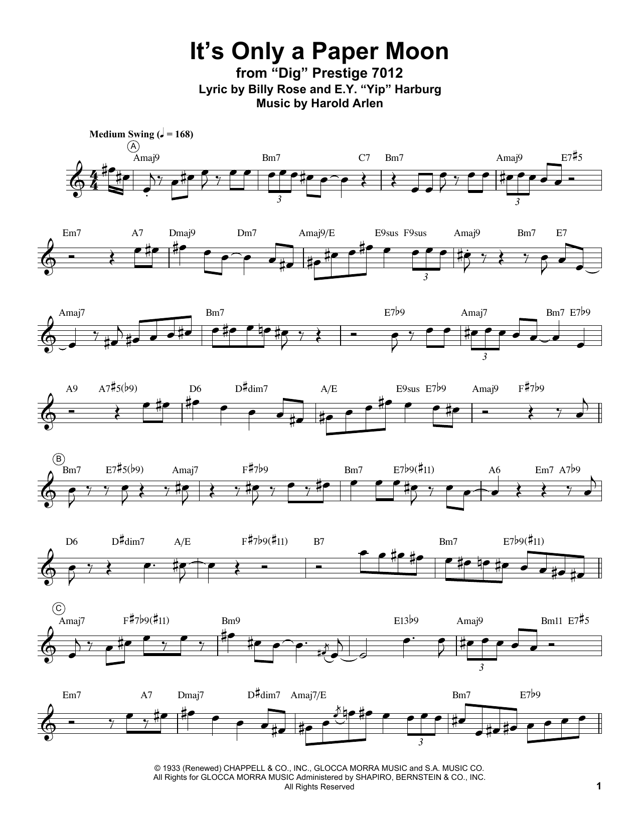 It's Only A Paper Moon Sheet Music